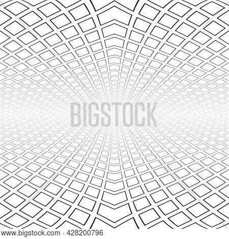 Abstract Geometric Architectural White Background. Diminishing Perspective View. Vector Art.
