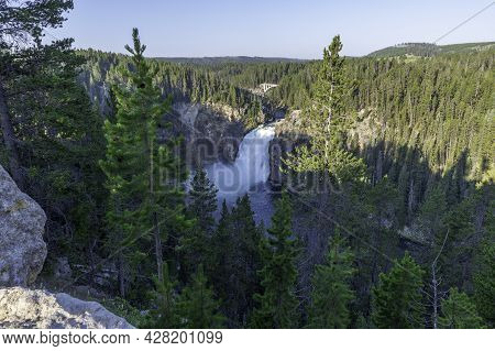 The Upper Yellowstone Falls Seen From An Overlook On The South Rim Trail