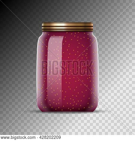 Glass Jars With Jam Vector Illustration. Canned Food Preserve Container. Jam Dessert In Jars