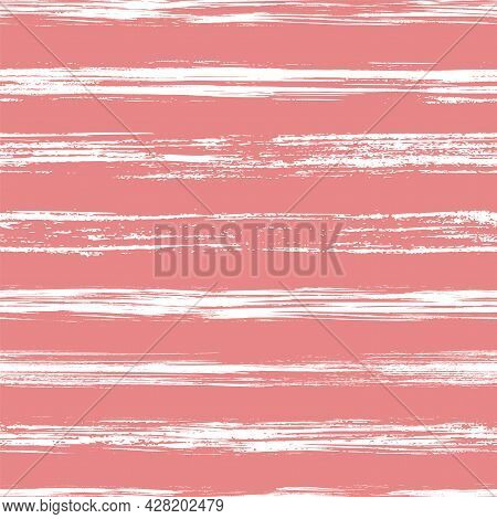 Vector Seamless Pattern With Ink Brush Strokes And Stripes. Hand Drawn Painting Graphic Brushes Text