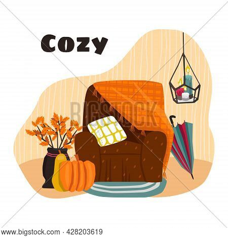 Vector Isolated Flat Illustration With An Element Of Seasonal, Autumn Comfortable, Cozy Atmosphere,