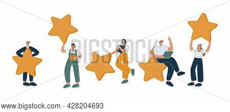 Happy People Are Holding Review Stars Over Their Heads. Five Stars Rating. Customer Review Rating An