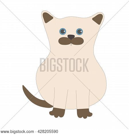 Siamese Kitten In The Doodling Style On A White Background For Use In Web Design Or Clipart