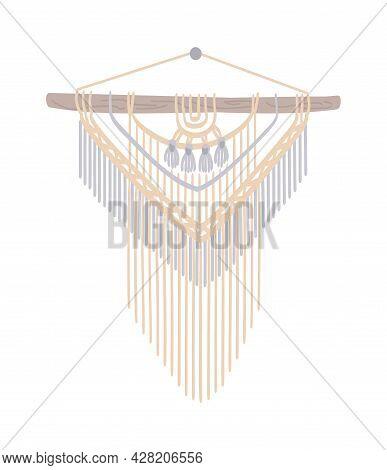 Macrame With Fringe. Diy Boho Style Interior Decor, Handmade Craft Knots. Ethnic Design Of Cord, Wal