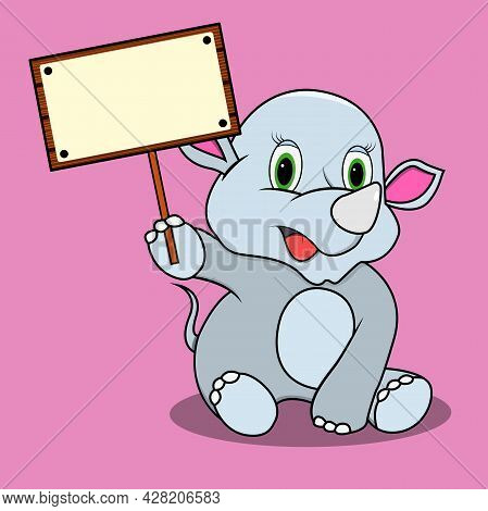 Character Rhinoceros With Blank Sign Wood, Pink Colors Background, Mascot, Icon, Character Or Logo,