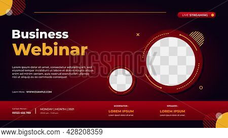 Website Banner With Modern Red Background And Double Circle Frame, Perfect For Business Webinars, Co