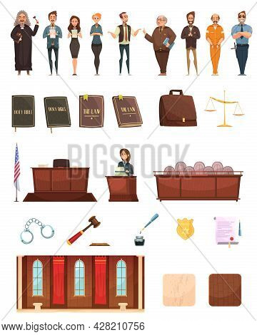 Criminal Justice Retro Cartoon Icons Collection With Law Books Jury Box Judge And Courtroom Isolated