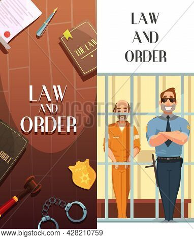 Law And Justice 2 Vertical Cartoon Banners Set With Convict In Jail Behind Bars Retro Vector Illustr