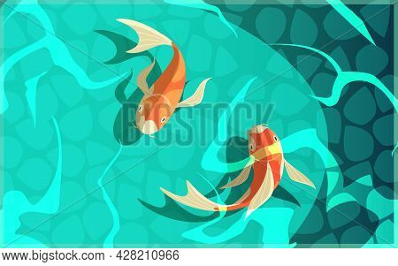 Koi Carp Japanese  Symbol Of Luck Fortune Prosperity Retro Cartoon Fishes In Water Poster Vector Ill