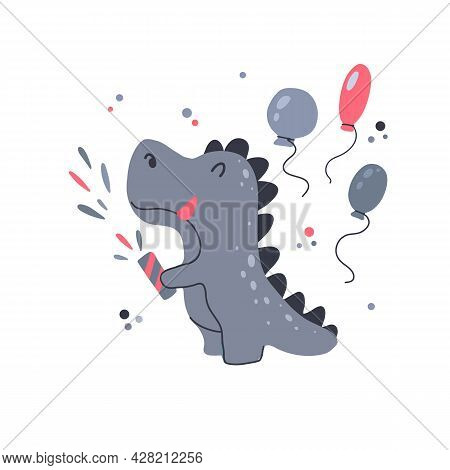 Happy Little Dinosaur Blowing Up Clapperboard With Balloons For Birthday. Festive Party. Vector Chil