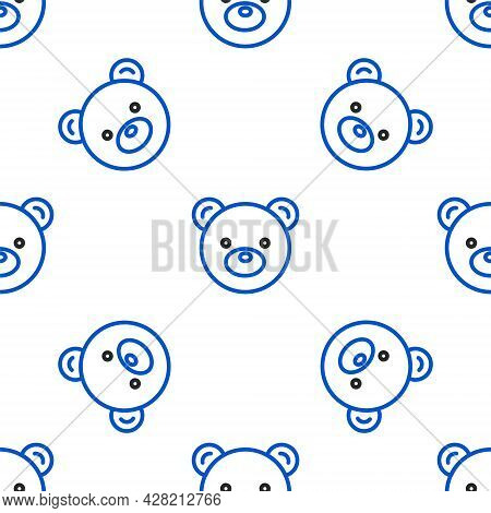 Line Teddy Bear Plush Toy Icon Isolated Seamless Pattern On White Background. Colorful Outline Conce