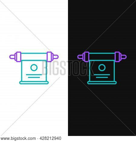Line Magic Scroll Icon Isolated On White And Black Background. Decree, Paper, Parchment, Scroll Icon