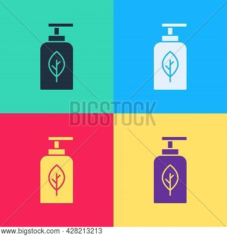 Pop Art Essential Oil Bottle Icon Isolated On Color Background. Organic Aromatherapy Essence. Skin C