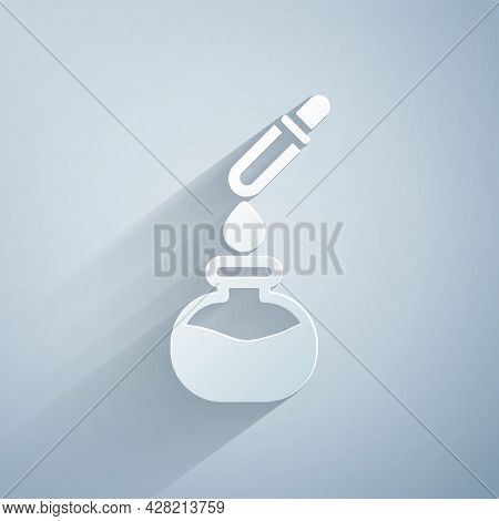 Paper Cut Test Tube And Flask Chemical Laboratory Test With Pipette Icon Isolated On Grey Background