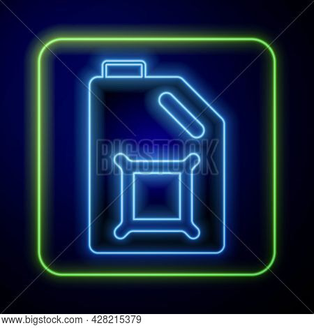 Glowing Neon Canister For Motor Machine Oil Icon Isolated On Blue Background. Oil Gallon. Oil Change