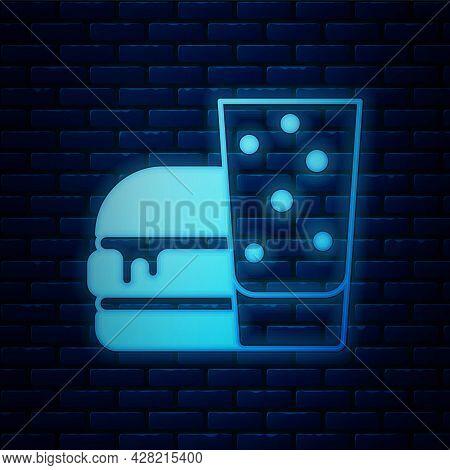 Glowing Neon Burger Icon Isolated On Brick Wall Background. Hamburger Icon. Cheeseburger Sandwich Si