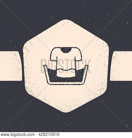 Grunge Plastic Basin With Shirt Icon Isolated On Grey Background. Bowl With Water. Washing Clothes,