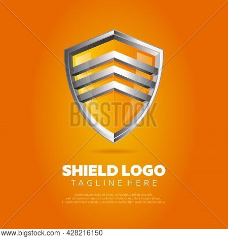 Vector Illustration Of A Realistic Shield Logo In A Mix Of Silver And Orange Colors. Suitable For De