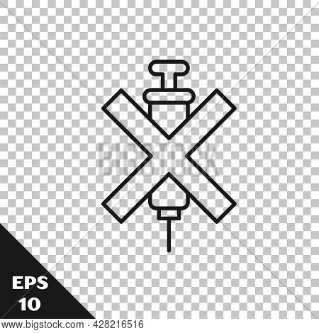 Black Line No Doping Syringe Icon Isolated On Transparent Background. Vector
