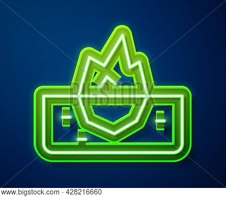 Glowing Neon Line Iceberg Icon Isolated On Blue Background. Vector