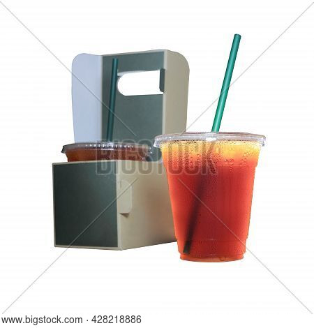 Tasty Espresso And Take-out Coffee, Cups In Holder,  Coffee Cups In Holder And Paper Bag, Isolated O