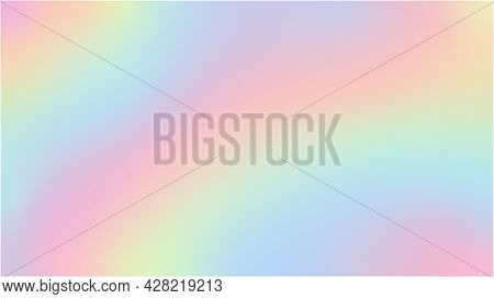 Rainbow Fantasy Background. Holographic Illustration In Pastel Colors. Cute Cartoon Girly Background