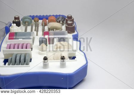 Tool Box Of Mini Electric Drill Accessories Set. Consumables For Milling Polishing Engraving Drillin
