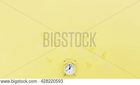 Back To School, Office Work Conceptual Flat Lay With Alarm Clock, Clips And Copy Space Area For Text