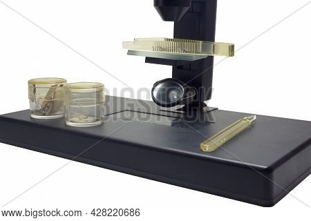 Monocular Microscope, With Tweezers On Slides And Dropper And Glass Jars For Specimens On Instrument