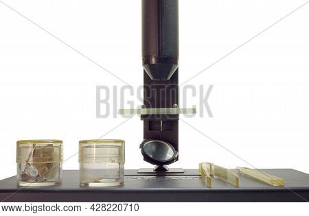 Biological Microscope, Specimens In Glass Jars, Tools For Interaction With Samples On Instrument Tab