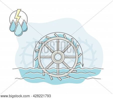 Energy Source With Hydropower Producing Electricity Line Vector Illustration