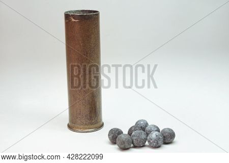Reload Of Rifle Brass Cartridge Case With Scattered Lead Shot