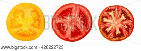 Sliced Tomatoes Isolated. Slices Of Different Varieties Of Tomatoes On White Background. Red Tomato,