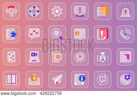 Support Service Web Glassmorphic Icons Set. Pack Outline Pictograms Of Headset, Lifebuoy, Info, Chat