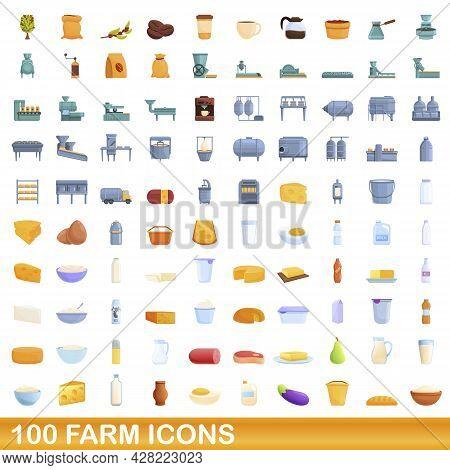 100 Farm Icons Set. Cartoon Illustration Of 100 Farm Icons Vector Set Isolated On White Background