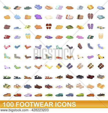 100 Footwear Icons Set. Cartoon Illustration Of 100 Footwear Icons Vector Set Isolated On White Back