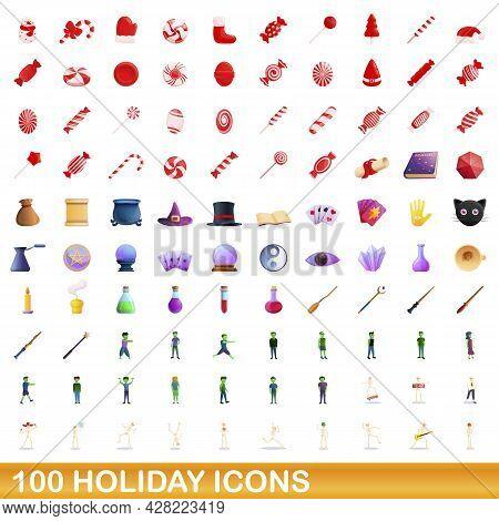 100 Holiday Icons Set. Cartoon Illustration Of 100 Holiday Icons Vector Set Isolated On White Backgr