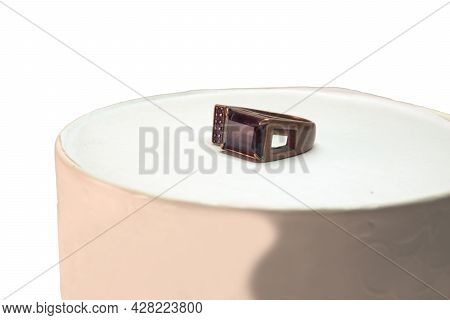 Multisize Ring With Big Faceted Rectangular Gemstone Transparent Morion And Several Small Faceted Tr