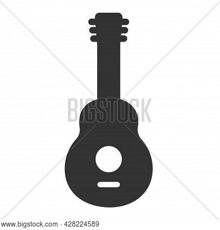 Guitar Icon Vector, Acoustic Musical Instrument Sign Isolated On White Background. Editable Color. V