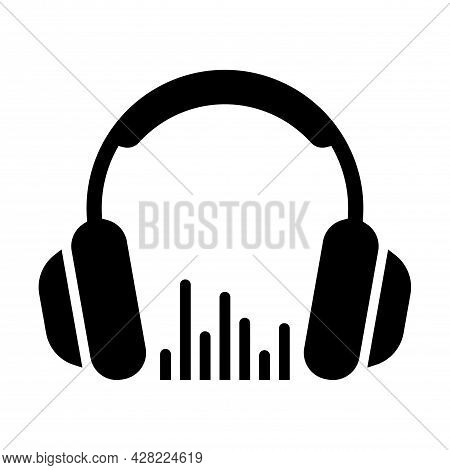 Headphone Icon. Black Silhouette Of Headphones With A Volume Sign, Symbol Of Music, Playing A Song.