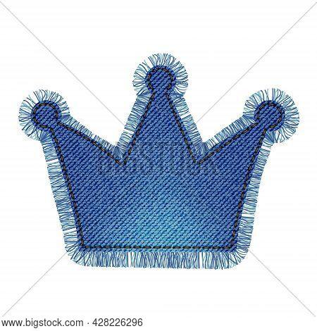 Denim Patch In The Shape Of A Crown With Fringe. Light Blue Denim. Textile Texture Modern Label. Vec