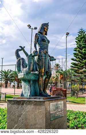 Alanya, Turkey - October 23, 2020: Sculpture Of Cleopatra In Alanya Park. Monument To The Egyptian Q
