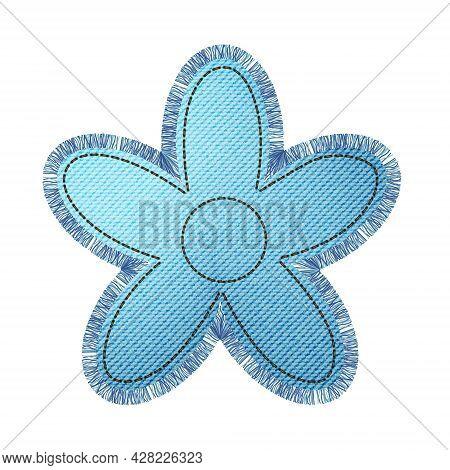 Denim Patch In The Shape Of A Flower With Fringe. Light Blue Denim. Textile Texture Modern Label. Ve
