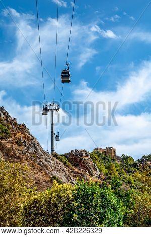 Cable Car To Alanya Castle (turkey) - Bottom View. Alanya Funicular Cabins (alanya Teleferik) Move B