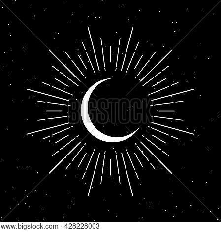 Half Moon With Rays On Black. Night, Sky, Dream, Sleep Symbol. Shining Crescent Vector Illustration.
