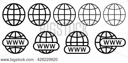 Set Of Website Icons. Www Search Bar Icon. Design For Web And Mobile App, Ui.