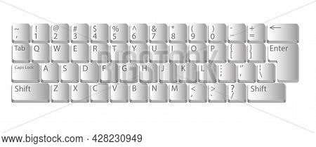 Computer Keyboard. Realistic Keyboard In White Color For Pc With Alphabet Buttons. Vector.