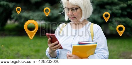 Woman Hands Use Map On Mobile Phone App To Search For Route Location Of Place With Gps On Street