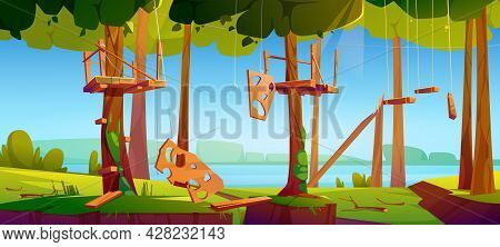 Old Adventure Park Rope Ladder Illustration. Broken Wooden Timbers And Rungs Hanging On Tree Trunks.