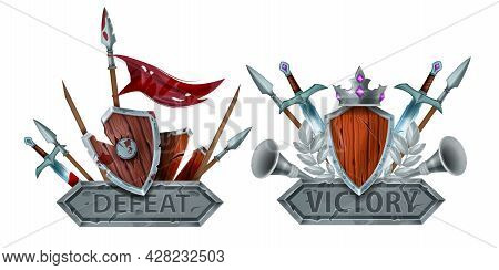 Game Badge Vector Icon, Defeat Victory Level End Signs, Rank Medal Award Design, Medieval Shield, Cr